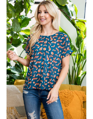 Small fox all over print top