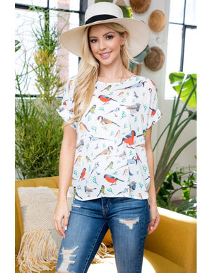 Short sleeve bird top