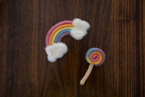 1019b Rainbow with clouds and Lollipop (Newborn Photography Prop) - Little Love Boxes