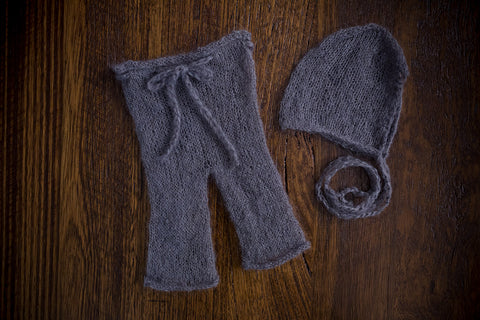 1013b Classic Knit Long Pants and Bonnet Dark Grey (newborn) - Little Love Boxes