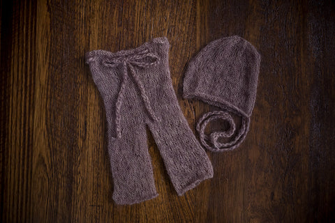 1013a Classic Knit Long Pants and Bonnet Taupe (newborn) - Little Love Boxes