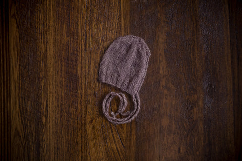 1015a Rib Front Knit Bonnets Taupe (newborn) - Little Love Boxes