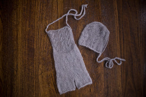1007b Audrey Knit Romper and Bonnet  Light Grey (newborn) - Little Love Boxes