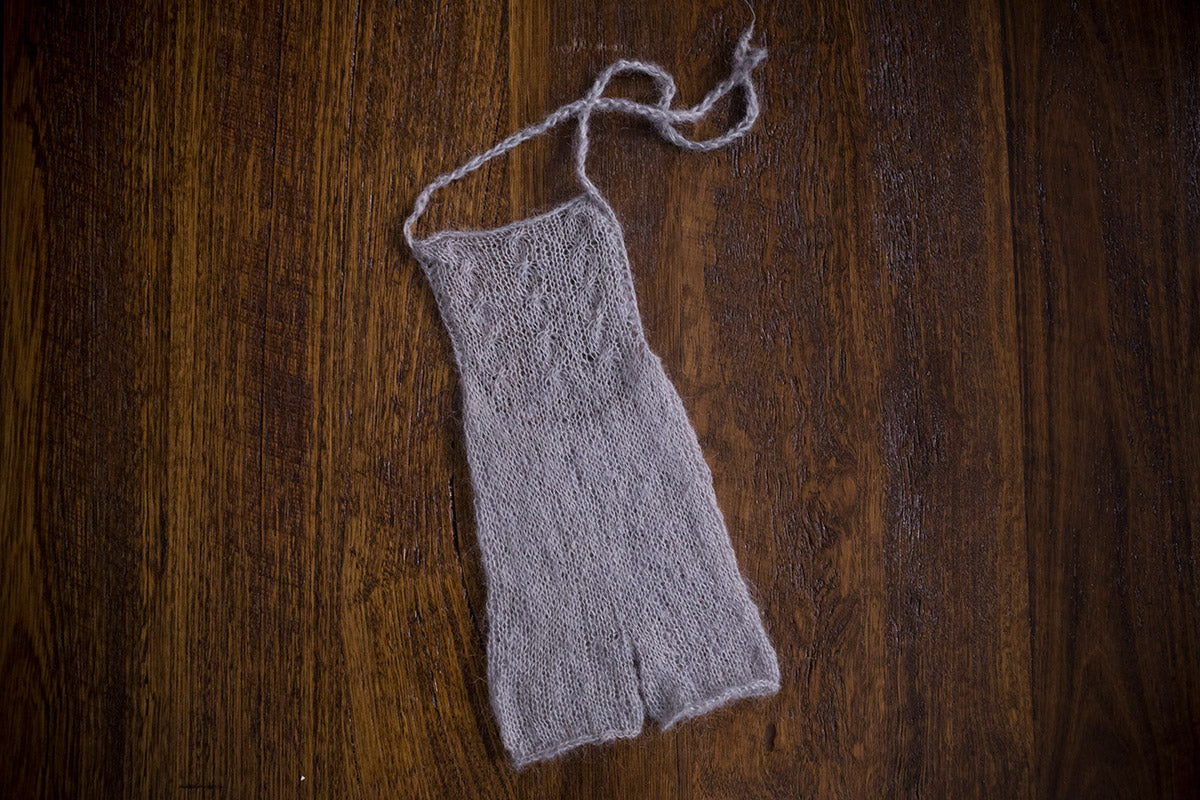 1008b Audrey Knit Romper Light Grey (newborn) - Little Love Boxes