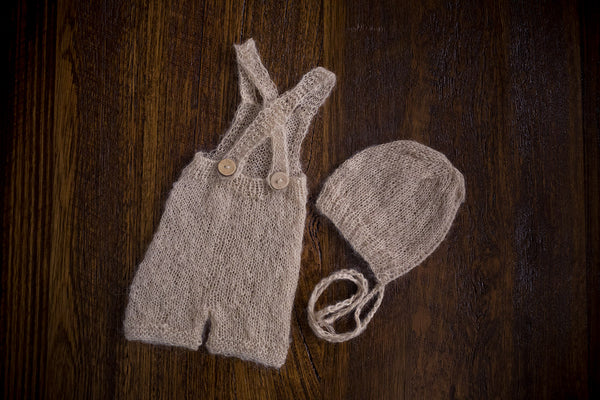 1005 Cross Back Knit Romper and Rib Front Bonnet Beige (newborn) - Little Love Boxes