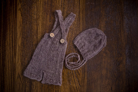 1005a Cross Back Knit Romper and Rib Front Bonnet Taupe (newborn) - Little Love Boxes