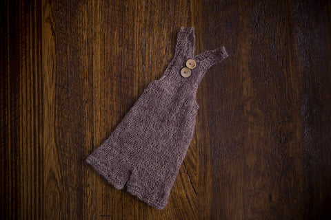 1006a Cross Back Knit Romper Taupe (newborn and sitter) - Little Love Boxes