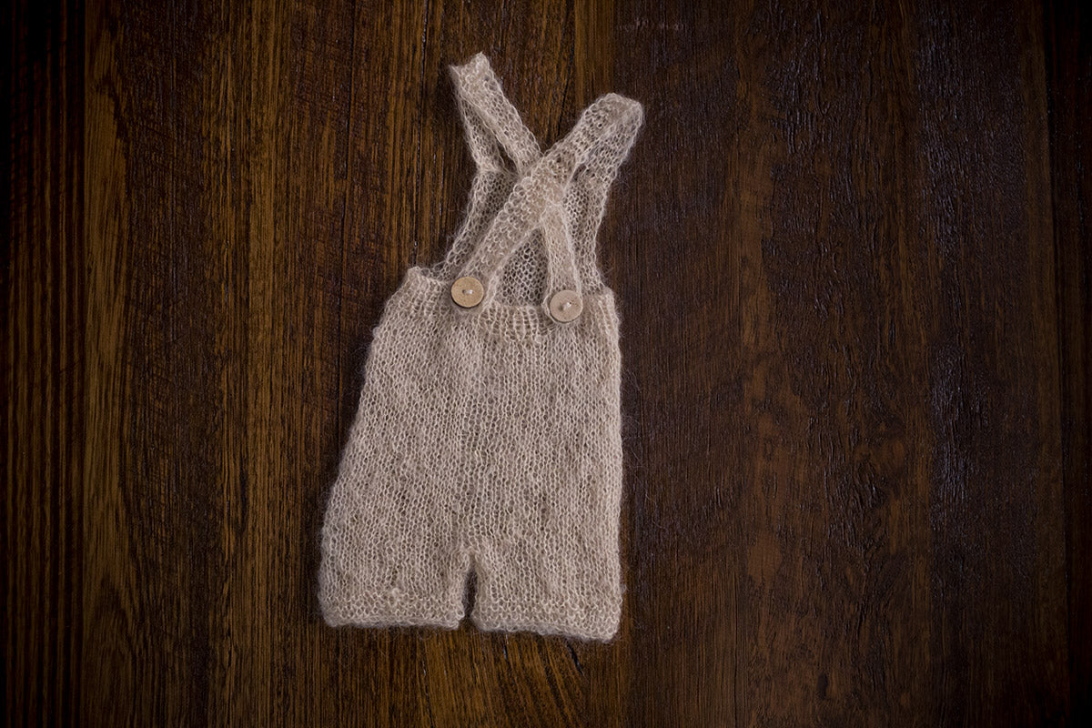 1006 Cross Back Knit Romper Beige (newborn and sitter) - Little Love Boxes