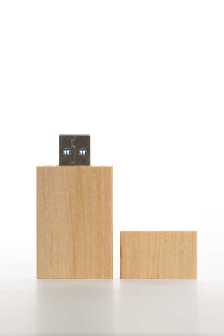 0001 Rectangle Wooden USB (Light) - Little Love Boxes