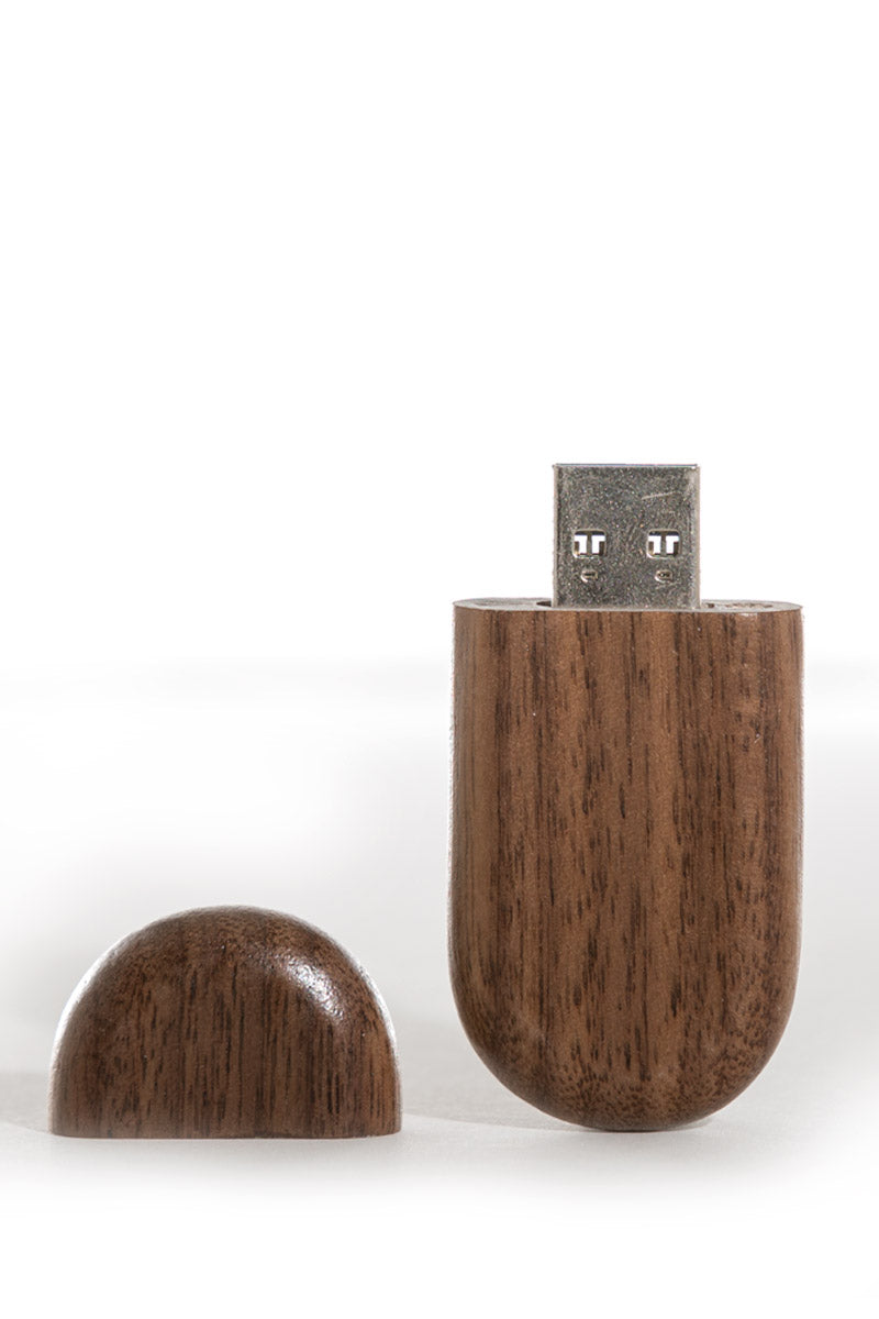 0004 Pebble Wooden USB (Dark) - Little Love Boxes