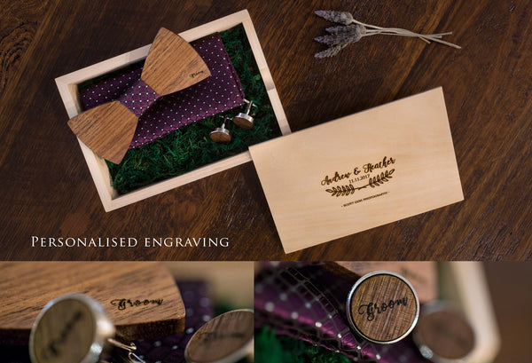 3003 Wooden Bow Tie with cufflinks and handkerchief - Little Love Boxes