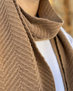 Load image into Gallery viewer, camel herringbone scarf