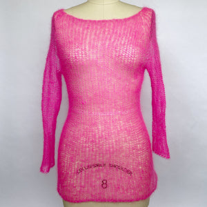Knit Silk + Mohair Long Sleeve Top - Fuchsia