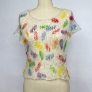 Knit Silk + Mohair Crop Top - Rainbow Sprinkles