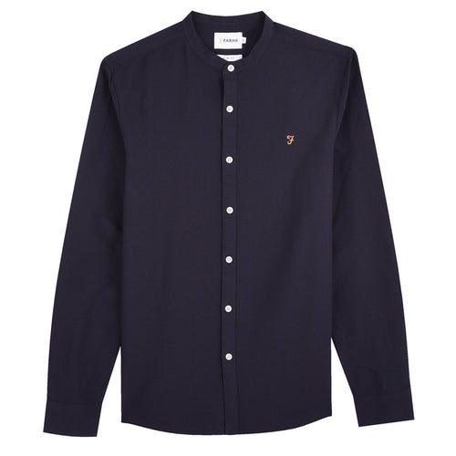 Farah Brewer Grandad Slim Fit Shirt Navy