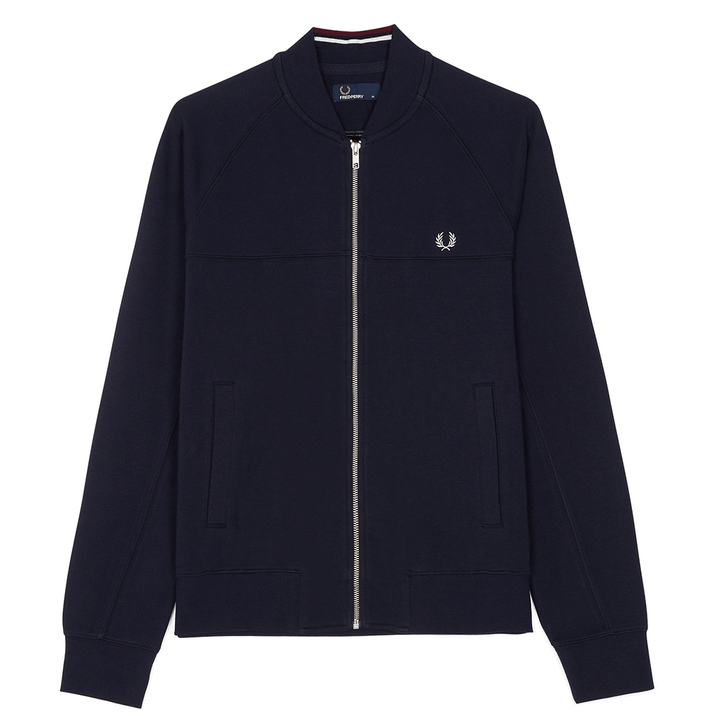 Fred Perry Panelled Bomber Neck Sweat Navy