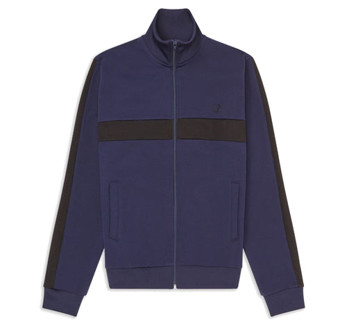 Fred Perry Colour Block Track Jacket, Carbon blue