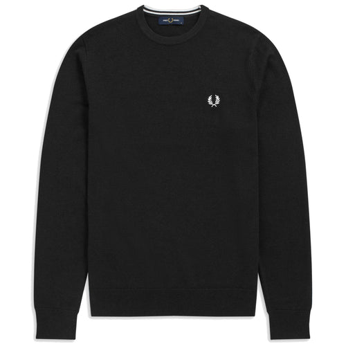 Fred Perry Classic Merino/Cotton Crew Neck, Black