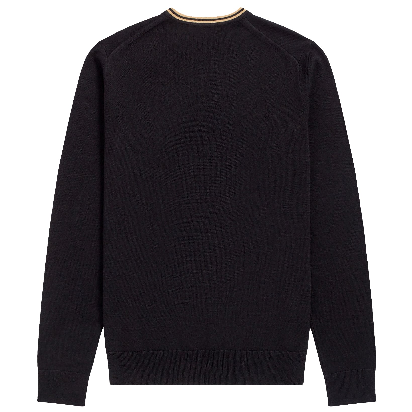 Fred Perry Classic Merino/Cotton Crew Neck, Black/Champagne