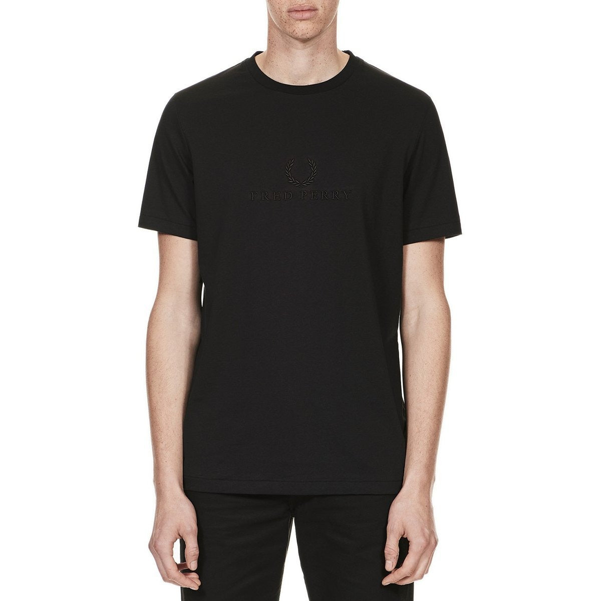Fred Perry Tonal Embroidered T-Shirt Black