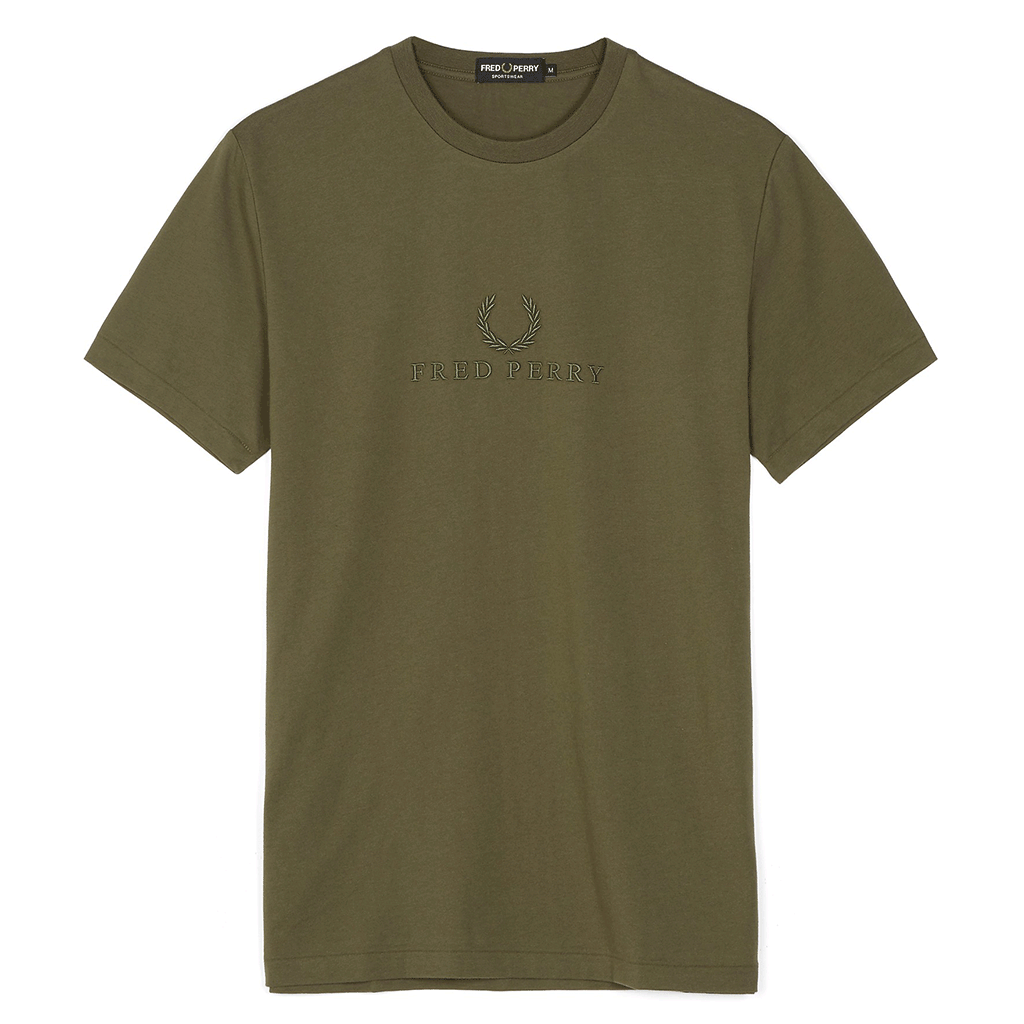 Fred Perry Tonal Embroidered T-Shirt Green