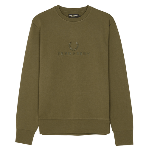 Fred Perry Tonal Embroidered Sweat Green