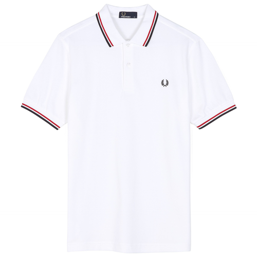 Fred Perry Polo Weiss / Rot / Navy M3600
