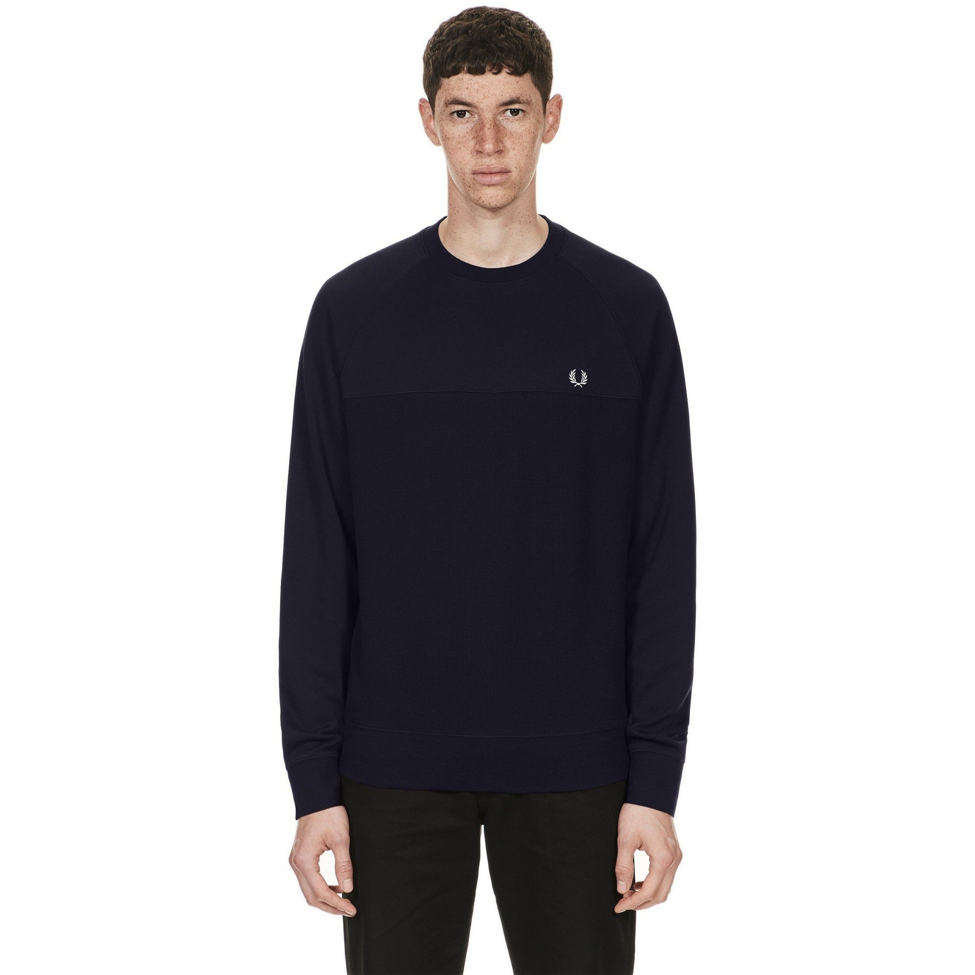 Fred Perry Textured Panel Crew Neck Navy