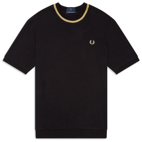 Fred Perry Made in England Piqué T-Shirt, Black/Champagne