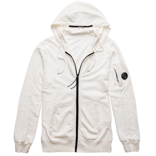 C.P. Company Hooded Zipper Lightfleece, White