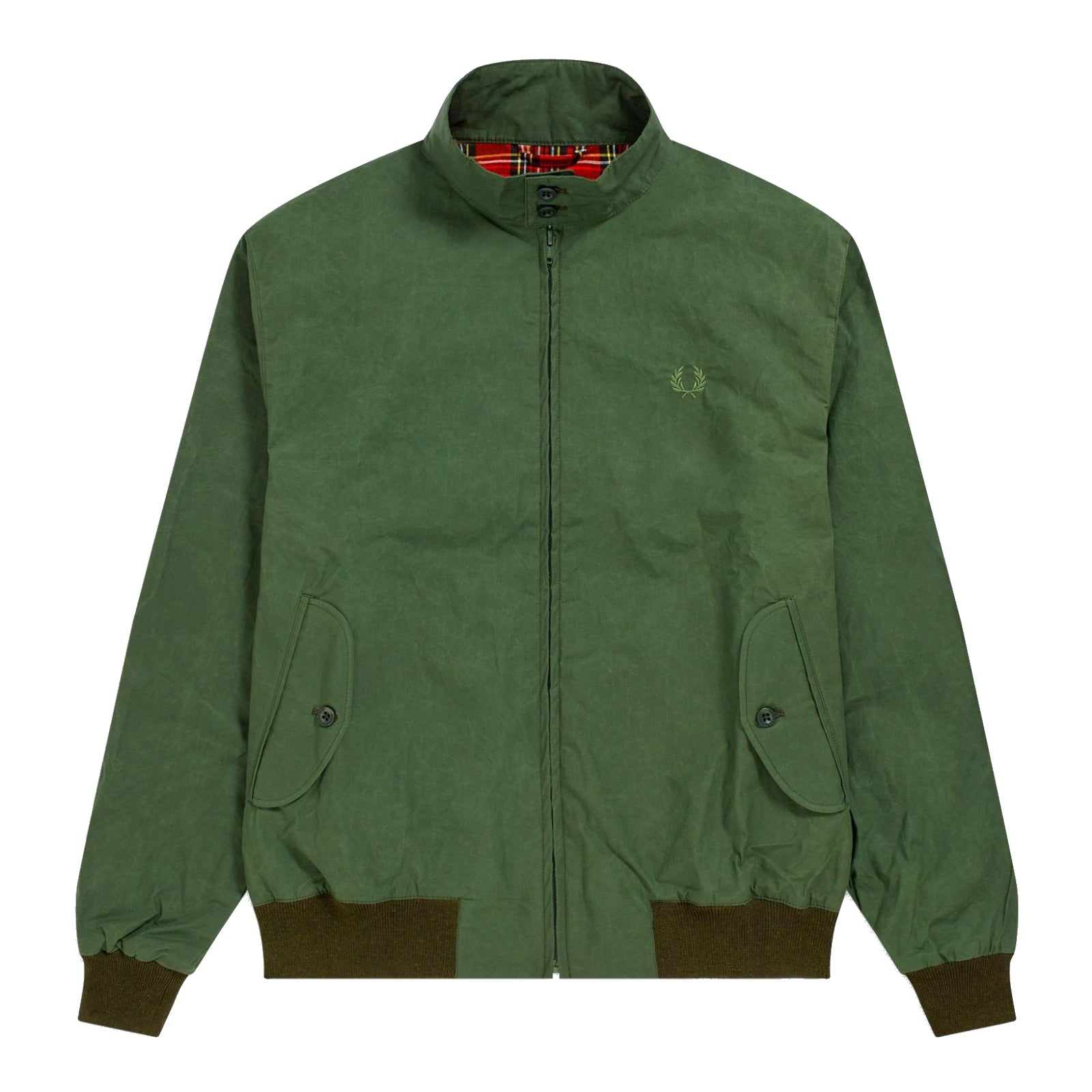 Fred Perry Made in England gewachste Harrington-Jacke, Olive