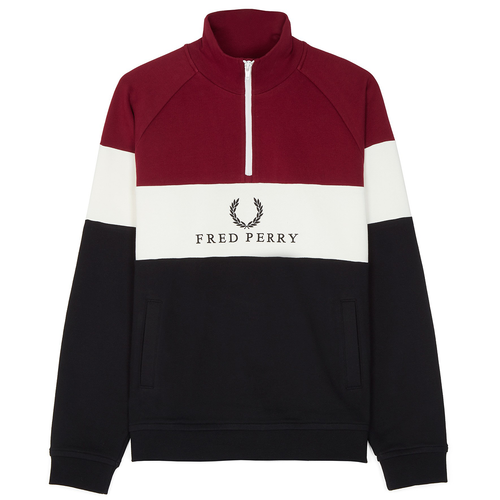 Fred Perry Embroidered Panel Sweatshirt, Bordeaux / White / Black