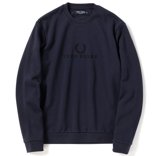 Fred Perry Embroidered Sweatshirt, Washed Navy