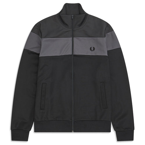 Fred Perry Colour Block Track Jacket, Gunmetal
