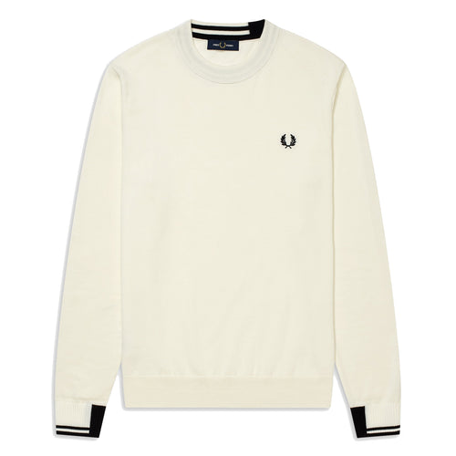 Fred Perry Cotton Crew Neck Schneeweiss