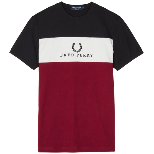 Fred Perry Embroidered Panel T-Shirt, Red