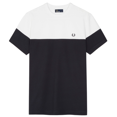 Fred Perry Crew Panelled T-Shirt, Navy