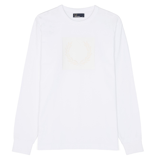 Fred Perry LS Tonal Laurel Wreath T-Shirt, White