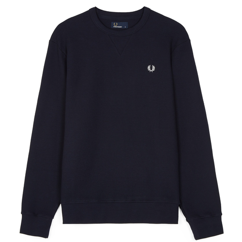Fred Perry Piqué Crew Neck Sweatshirt, Navy