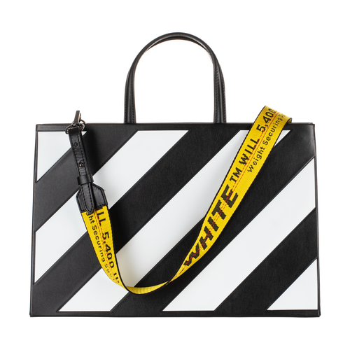 Off-White Striped Box Bag, Black & White