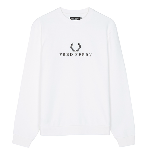 Fred Perry Sports Authentic Embroidered Sweatshirt White
