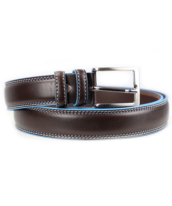 Blue Trim Belt - Dark Brown