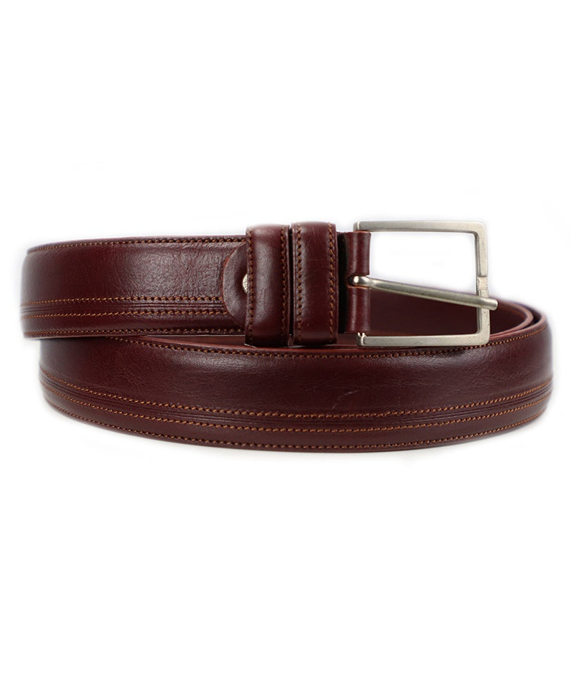 Side Stitch Belt - Burgundy