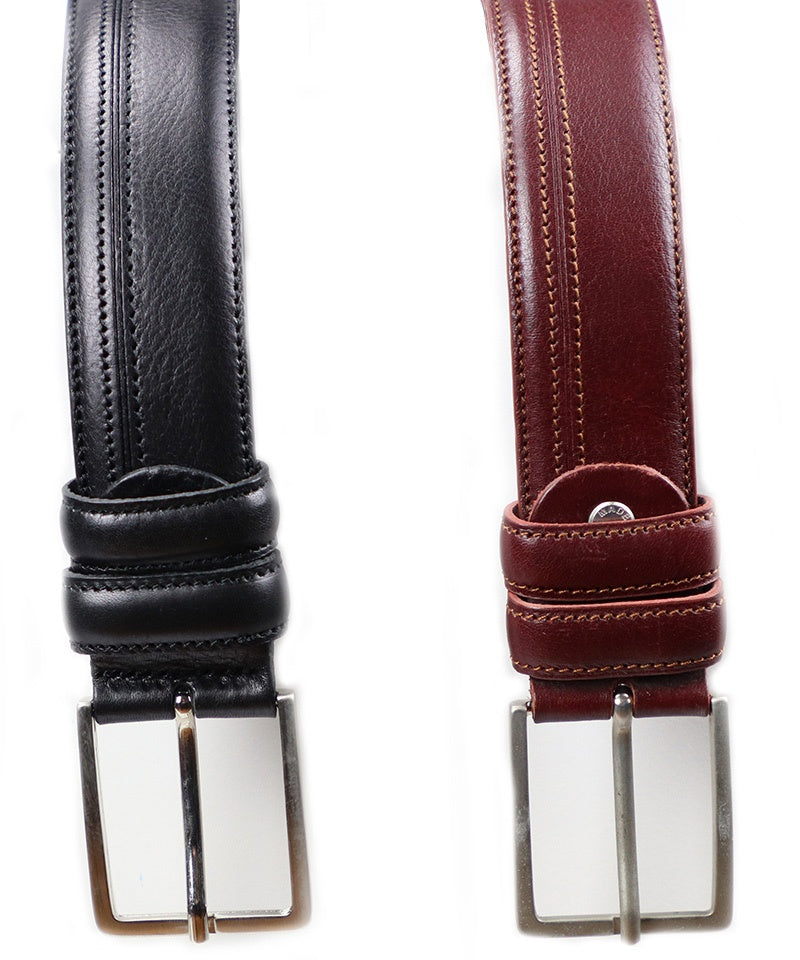 Side Stitch Belt - Black and Burgundy