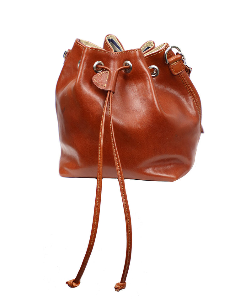 Mini Leather Bucket in Brown