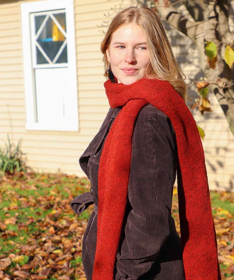 Long Wool Scarf in Red