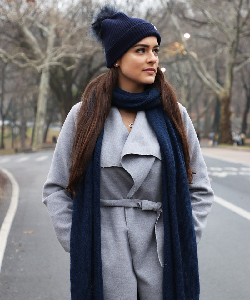 Long Wool Scarf in Blue