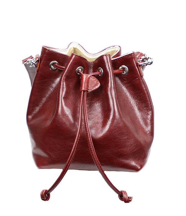 Mini Leather Bucket in Red