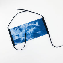 Load image into Gallery viewer, Blue Shibori Dyed Handmade Fabric Mask