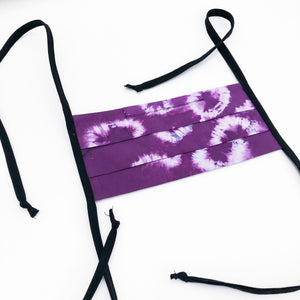 Purple Shibori Dyed Handmade Cotton Fabric Mask